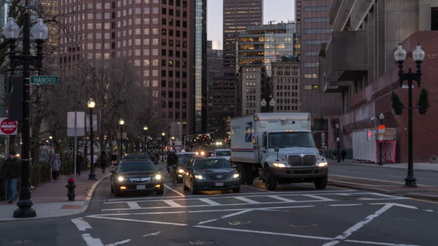 Time-lapse: Boston city hall and public market at Downtown MA USA