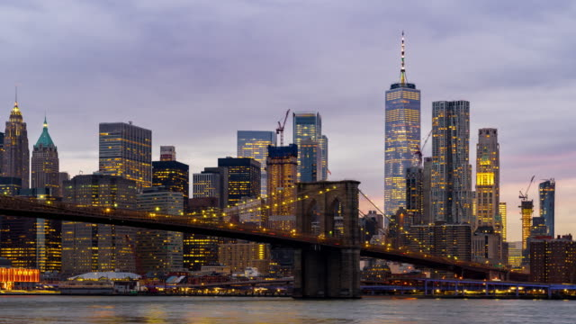 Timelapse: Brooklyn bridge at Sunset twilight, New York City NY USA 4K  Timelapse: Brooklyn bridge at Sunset twilight, New York City NY USA, Apple ProRes 422 (HQ) 3840x2160 Format east stock videos & royalty-free footage