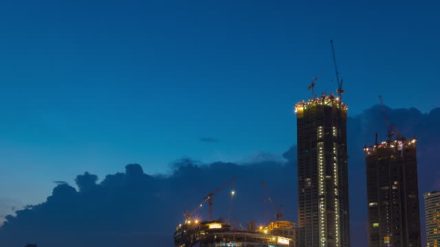 4K Timelapse: Building with Crane. video