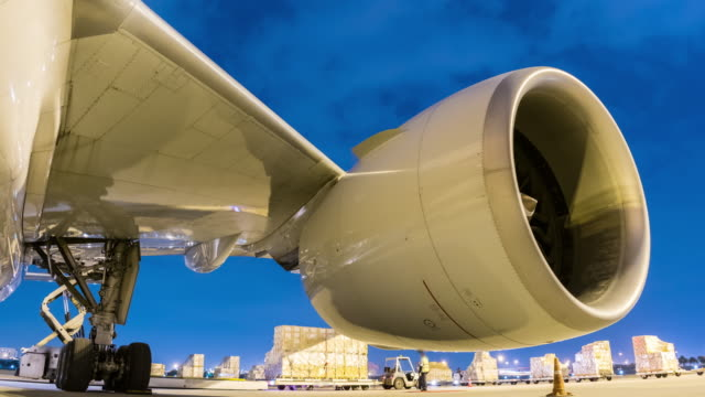 Time-lapse : Cargo plane and engine aircraft Time-lapse : Cargo plane and engine aircraft cargo container stock videos & royalty-free footage