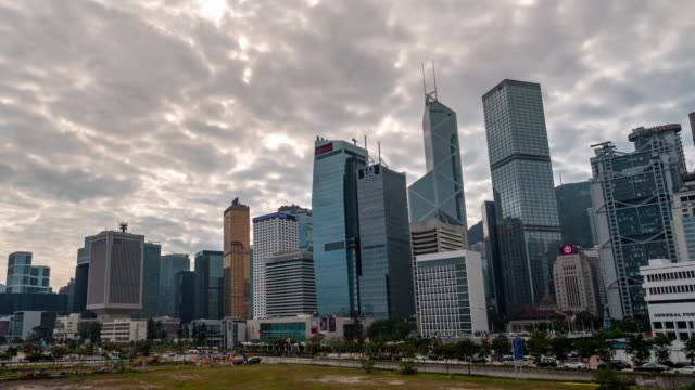 time-lapse: central and admiralty hong kong skyline building cityscape - центральный район стоковые видео и кадры b-roll