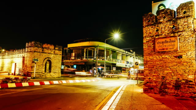 Timelapse Chiang Mai Gate in Thailand at night