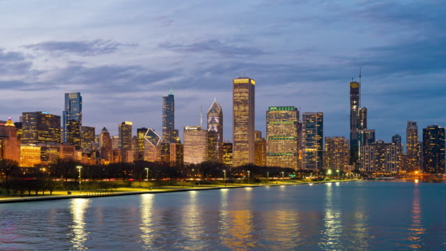Time-lapse: Chicago Cityscape Office Skyline Skyscraper Building with highway along lake michigan with Grant Park  at twilight sunset, IL USA