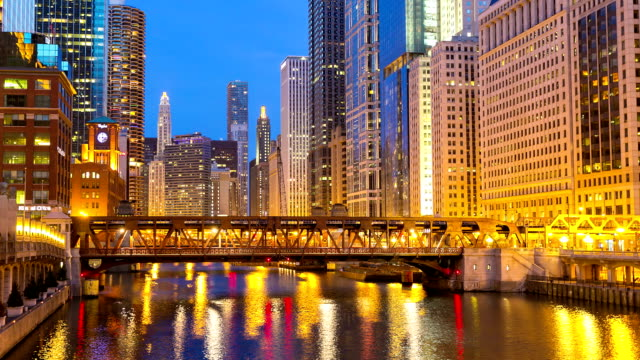 HD Time-lapse: Chicago River with Skyline Cityscape USA at dusk video