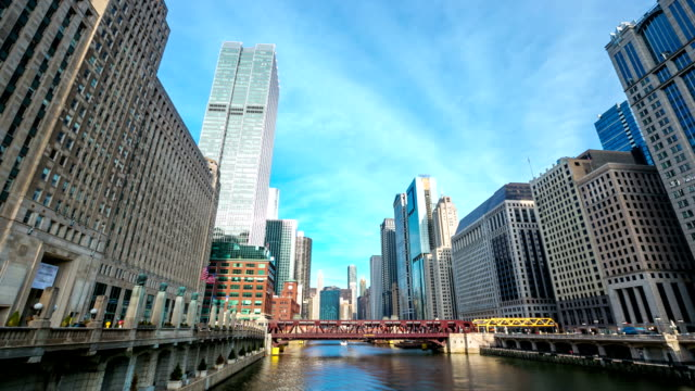 HD Time-lapse: Chicago River with Skyline Cityscape USA video