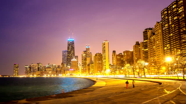 HD Time-lapse: Chicago Skyline along Michigan Lake at dusk USA video