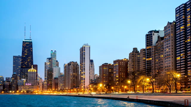 HD Time-lapse: Chicago Skyline along Michigan Lake at dusk USA HD Time-lapse: Chicago Skyline along Michigan Lake at dusk USA, 1920x1080 Format chicago stock videos & royalty-free footage