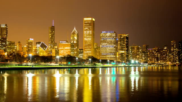 HD Time-lapse: Chicago Skyline Cityscape at night USA video