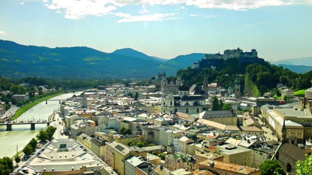 time-lapse: staden salzburg, österrike, på sommaren. - videor med salzburg bildbanksvideor och videomaterial från bakom kulisserna