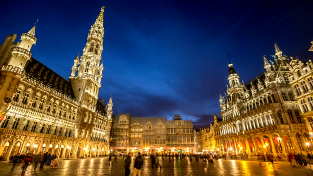 HD Time-lapse: City Pedestrian at Grand Place Brussels Belgium Dusk video