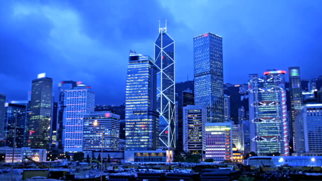 Timelapse cityscape of Hong Kong at evening. video