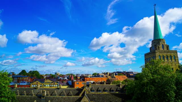 timelapse Cityscape of Oxford with blue sky - vídeo