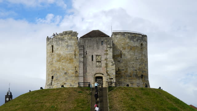 timelapse clifford's tower at york city in uk - england stock videos & royalty-free footage