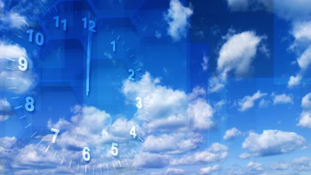 timelapse clock on sky background loop video