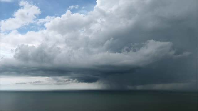 Timelapse Cloudscape and Thunderstorm Over The Ocean video