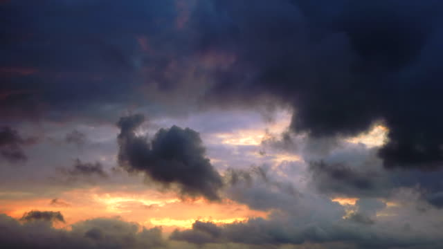 Timelapse cloudy sky at sunset