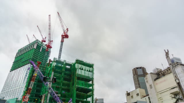4K Timelapse : Construction cranes in Tokyo , Japan video