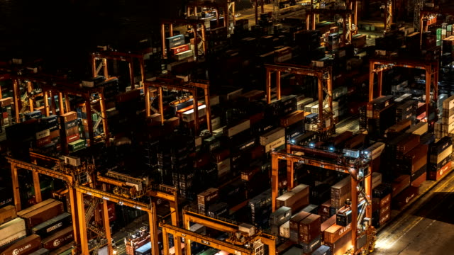TimeLapse - Container Movement in Docks TimeLapse - Container Movement in Docks, Hong Kong commercial dock stock videos & royalty-free footage