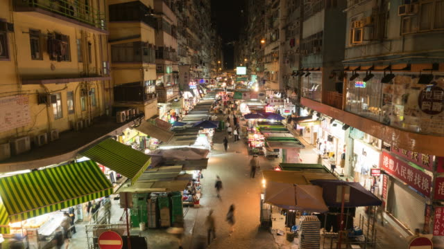 Time-Lapse: Crowd of people visit local tradditional market in Mong Kok district, Hong Kong - vídeo