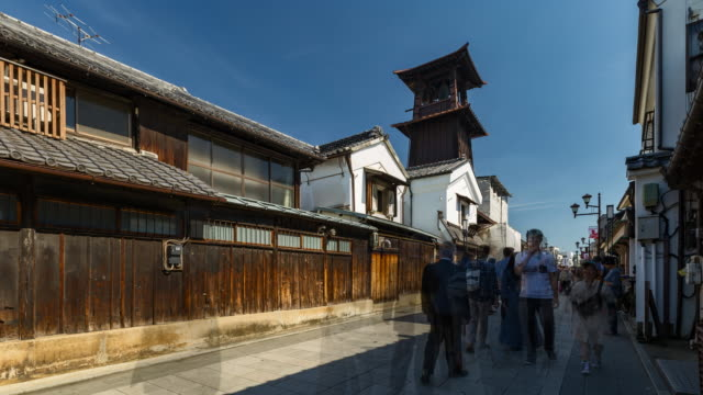 4K Time-lapse : Crowd of tourist walking at Kawagoe Little Edo old town street near by bell tower video