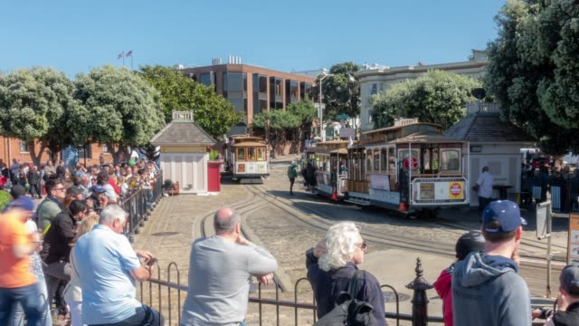 Time-lapse Crowd Pedestrians tourist and cable car at Hyde Street in San Francisco California USA