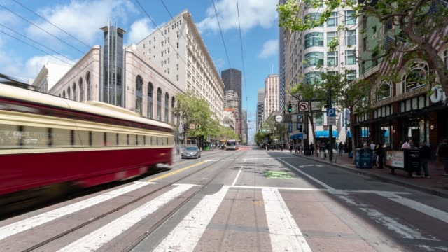 Time-lapse Crowd Pedestrians tourist and cable car at Market Street in San Francisco California USA