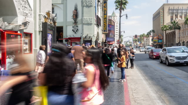 time-lapse crowd pedestrians tourist at hollywood in los angeles california usa - viale video stock e b–roll