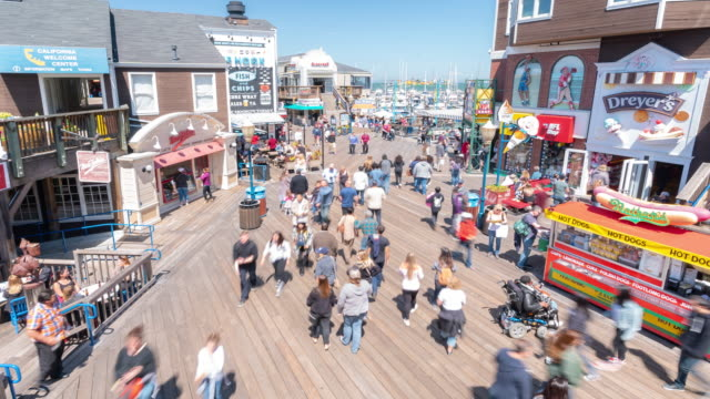 Time-lapse Crowd Pedestrians tourist at Pier 39 of San Francisco California USA