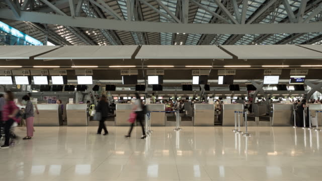 Timelapse Crowd people airport video