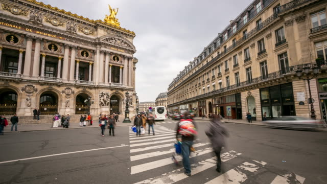 4K time-lapse: Crowded Pedestrian at Opera Paris video
