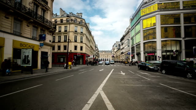 HD time-lapse: Crowded Pedestrian Haussmann Boulevard Opera Lafayette Paris video