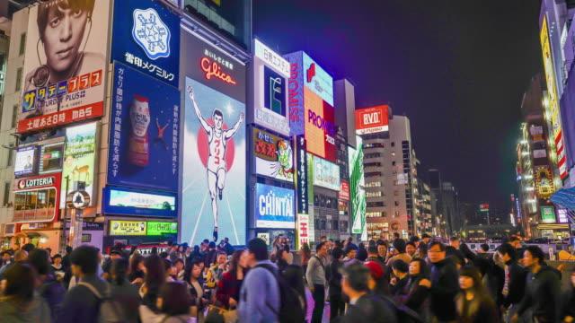 timelapse crowded people at Namba Street Market in Osaka - vídeo