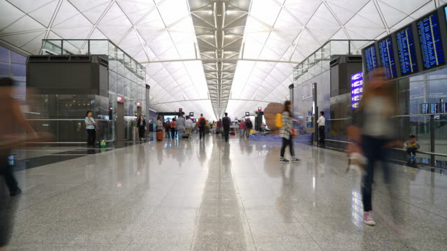 Timelapse Crowded people in Hong kong airport video