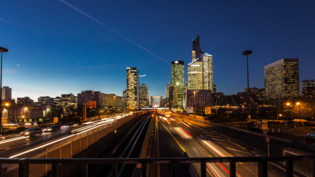 4K Timelapse day to night of La Defense Paris's financial and business district in supreme quality (4K/UHD to HD) - Creative Stock Video