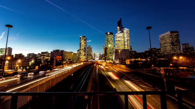 Timelapse day to night of La Defense Paris's financial district video