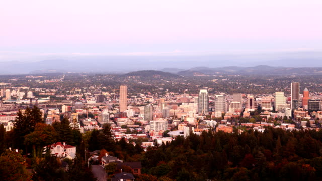 Timelapse day to night of Portland, Oregon, United States, looping video