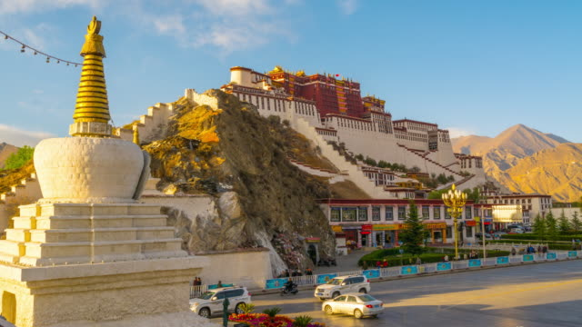 4K Timelapse Day to Night Scene of Potala Palace, Tibet, China video