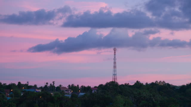 4K Time-lapse Day to Night: Telecommunication towers video