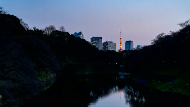 4K Time-lapse Day to night: Tokyo Skyscrapers behind the Chidorigafuchi Moat of The Imperial Palace.Tokyo Tower is illuminated among the skyscrapers video