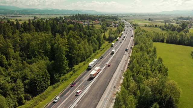 Time-lapse - Drone flying over the highway