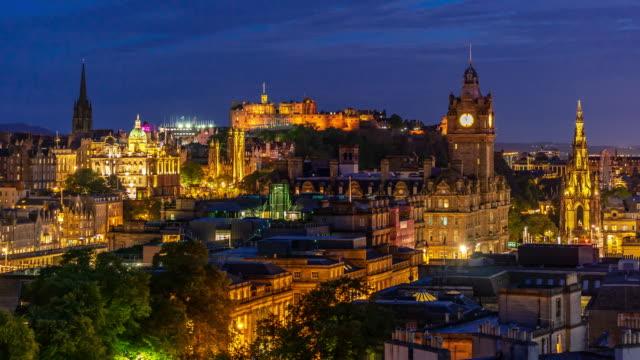 Time-lapse: Edinburgh Cityscape at Dusk UK 4K Time-lapse: Edinburgh Cityscape at Dusk UK Apple ProRes 422 (HQ) 3840x2160 Format scotland stock videos & royalty-free footage