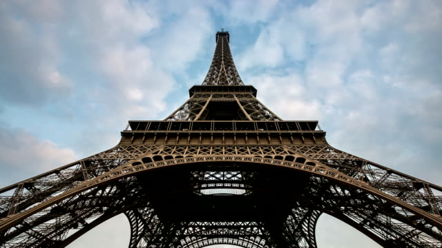 HD Timelapse: Eiffel Tower Paris with cloudscape evening, France