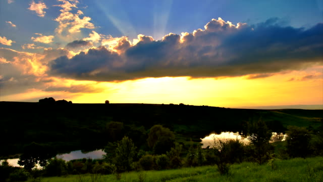 'TimeLapse': Fantastic Landscape Epic Sunset Nature Summer Cloudscape Panorama. video