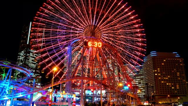 Time-lapse : Ferris wheel at Yokohama city in Japan video