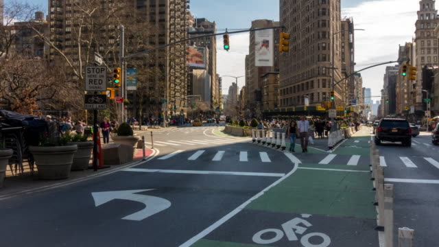 Time-lapse: FlatIron Area Madison Square Garden at  Broadway and Fifth avenue in New York City USA