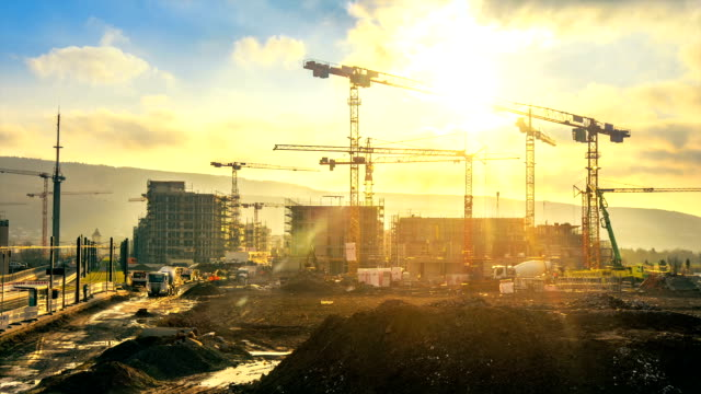 Time-lapse footage of a large construction site
