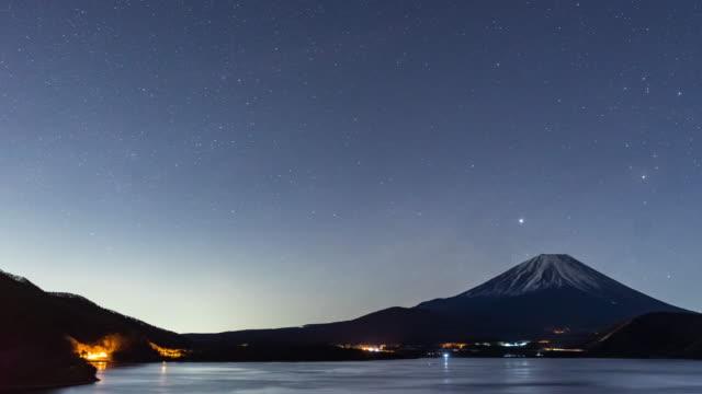 タイムラプス:河口湖空中写真でスタートレイルを持つ富士山 - 星型点の映像素材/bロール