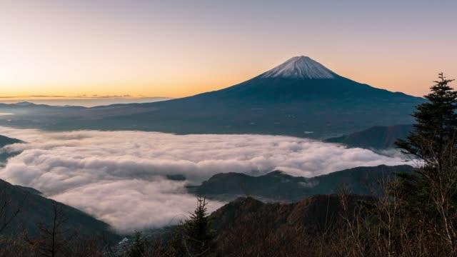タイムラプス: 河口湖の日の出富士山の空中景色 - 多重露出点の映像素材/bロール