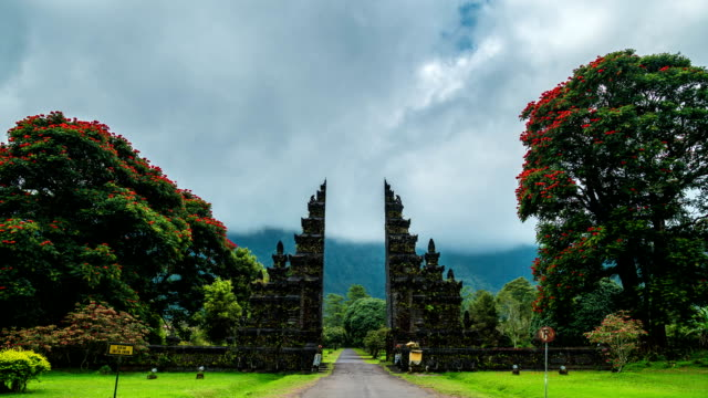 Timelapse Gates Candi Bentar to one of the Hindu temples in Bali in Indonesia video