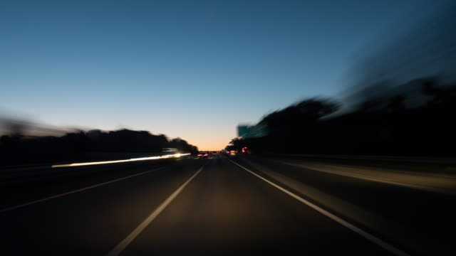 timelapse german highway at dawn - autobahn video stock e b–roll